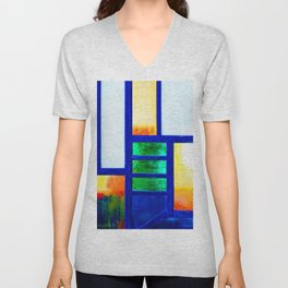 Art Deco Colorful Stained Glass Unisex V-Neck