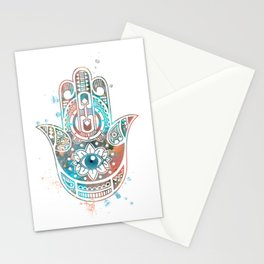 Hamsa Hand Colorful Watercolor Art Gift Stationery Cards