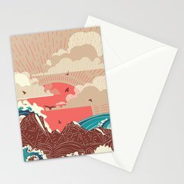 Stylized big waves of ocean or sea at sunset landscape Stationery Cards