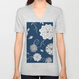 Sweet daisies on indigo blue Unisex V-Neck