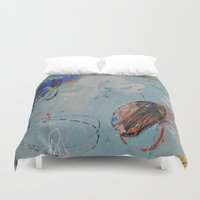 numbers Duvet Covers featuring Numbers Game by Patricia Schwimmer