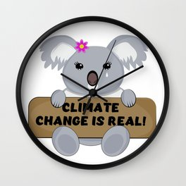 Cute Sad Koala Bear with Climate Change Is Real Sign Wall Clock