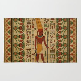 Egyptian Amun Ra - Amun Re Ornament on papyrus Rug