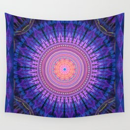 Scratchy mandala with tribal patterns and little flowers Wall Tapestry