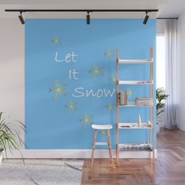 Let It Snow Gold Snowflakes Wall Mural