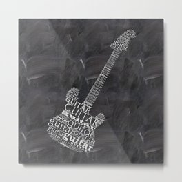 Guitar on chalkboard Metal Print