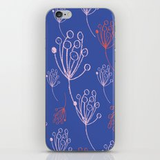 floral blue chalk contemporary iPhone Skin