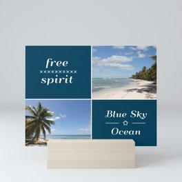 Free Spirit - Blue Sky and Ocean Caribbean Collage Mini Art Print