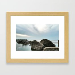 Seascape with Jetties Framed Art Print