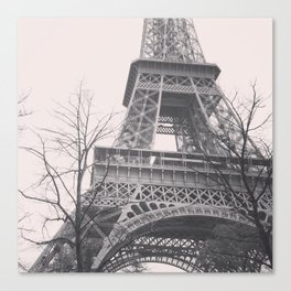 Eiffel tower, Paris, black & white photo, b&w fine art, tour, city, landscape photography, France Canvas Print