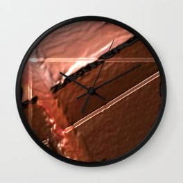 geometrical abstrac art copper colored metal texture Wall Clock