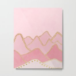 Pink Mountains with gold dots Metal Print