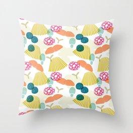 Tossed Mushrooms  Throw Pillow