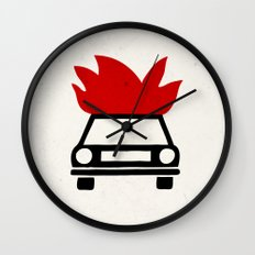 the car's on fire Wall Clock