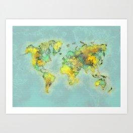 world map 112 #worldmap #world #map Art Print