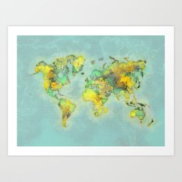 world map 112 #worldmap #world #map Art Print