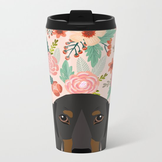 Dachshund florals cute pet gifts black and tan dachshund gifts for dog lover with weener dog Metal Travel Mug