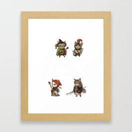 Cats in Dungeons Gift for RPG Gamers and Kitty Fans  Print Framed Art Print
