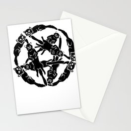 Gothic Cats Pentagram Satan funny gift Stationery Cards