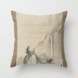 Soga Shōhaku - Waterfall in a Landscape Throw Pillow