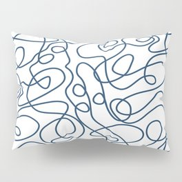 Doodle Line Art | Petrol Blue Lines on White Background Pillow Sham