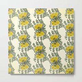 Kowhai Flowers Pattern Metal Print