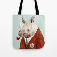rhino Tote Bags featuring Rhino by Animal Crew