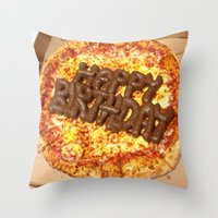 poop Throw Pillows featuring Pizza Poop by Carsick T-Rex