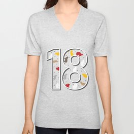 18th birthday cats eighteen-year-old gift Unisex V-Neck