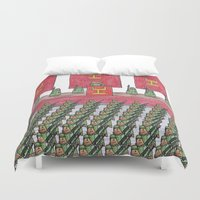 military Duvet Covers featuring Dust Piggies Military Rally by dustpiggies