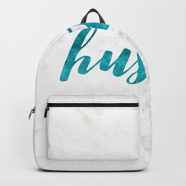 Blue Hustle Text Marble Backpack