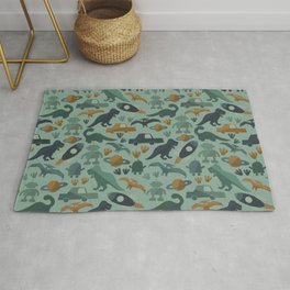 Little Boy Retro Fun Print, Robots, Dinosaurs, Cars and Rocket Ships, Minimalist Retro, Blue Rug