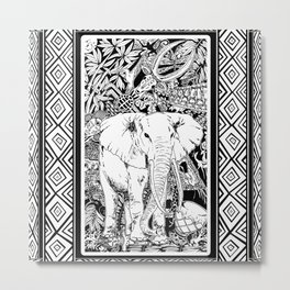 White Elephant Indian Ink Tribal Art Metal Print