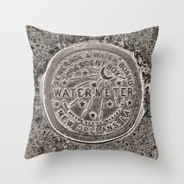 Sepia New Orleans Water Meter Louisiana Crescent City NOLA Water Board Metalwork Throw Pillow