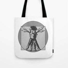 Vitruvian with spacer flair on Grey Tote Bag