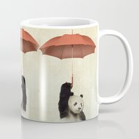 clear Mugs featuring Pandachute by Vin Zzep