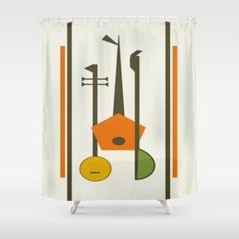 Mid-Century Modern Art Musical Strings Shower Curtain