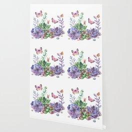 A Splendid Secret Succulent Garden With Butterfly Visitors Wallpaper
