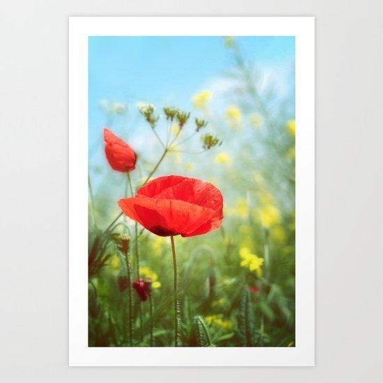 Technicolour Poppy Art Print