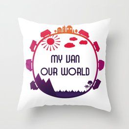 My Van Our World - Sunset Throw Pillow