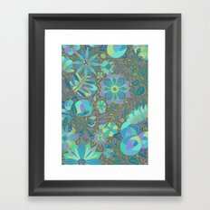 Muted Blue Flowers Framed Art Print