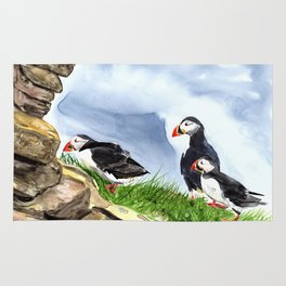 """What is going on over there?"" Atlantic Puffins Watercolor Painting Rug"