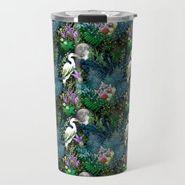 Egret In A Bog Garden Under A Full Moon Travel Mug