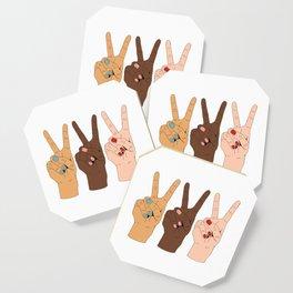 Peace Hands Cartoon Coaster