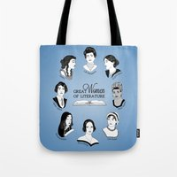 literature Tote Bags featuring Great Women of Literature by geeksweetie