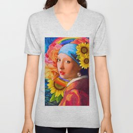 Girl With A Pearl Earring Collage Unisex V-Neck