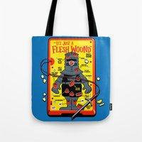 in the flesh Tote Bags featuring Flesh Wound by Captain_RibMan