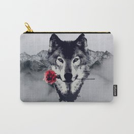 The Wolf With a Rose & Mountains Carry-All Pouch