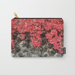 Pink red ivy leaves autumn stone wall Carry-All Pouch