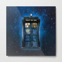 Beautiful tardis with yellow stained glass windows Metal Print